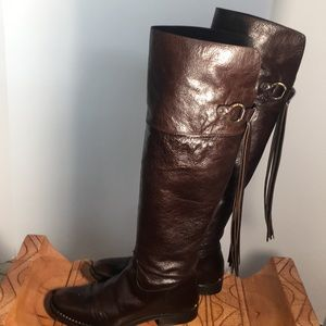 Vintage Michael Kors knee high brown leather boots